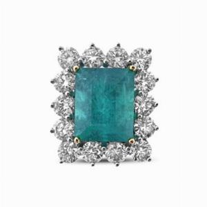 Emerald & Diamond Cluster Ring 8.13ct